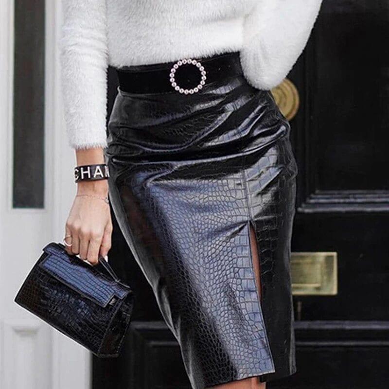Black Crocodile Pattern Pu Leather High Waist Elegant Bodycon Pencil Skirt