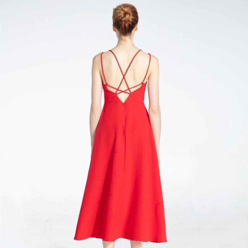 Cross Spaghetti Strap Open Back Solid Beach Ankle-length Dress