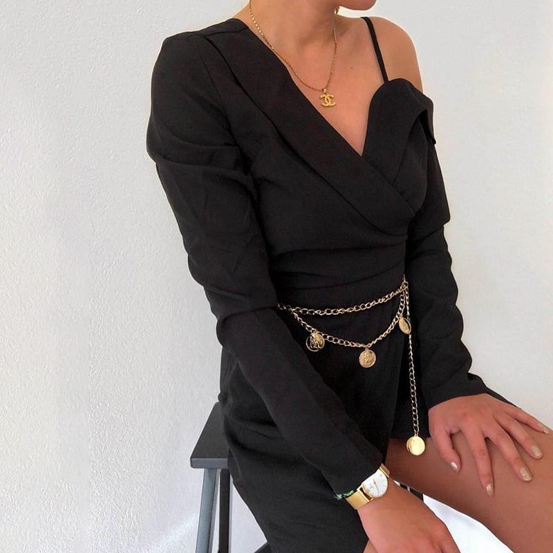 Elegant Asymmetrical Long Sleeve Office Blazer Black Dress