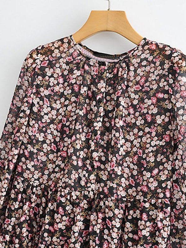 Floral Print Pleated Long Sleeve O Neck Loose Boho Dress