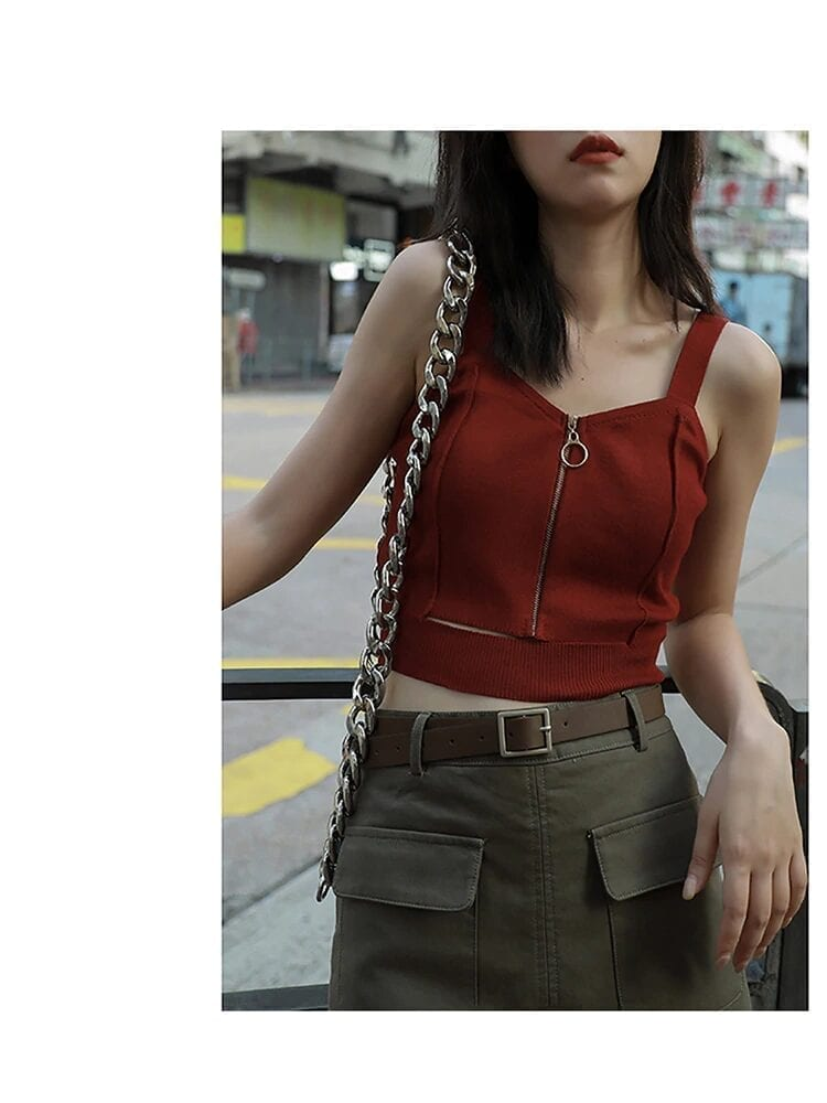 Zipper Knitting Camisole With Hole Sleeveless Solid Strap Top