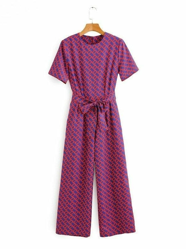 Chain Print Short Sleeve Pocket O-neck Long Jumpsuit