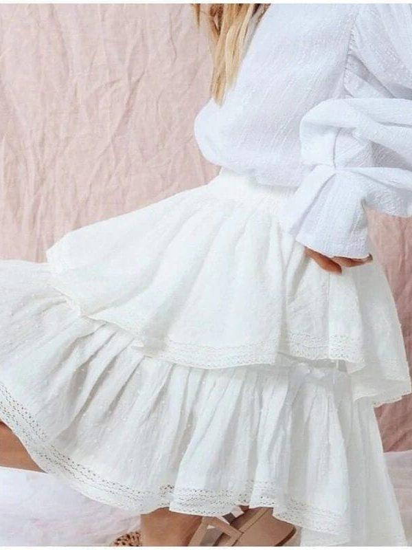 High Waist A-line Mini White Skirt