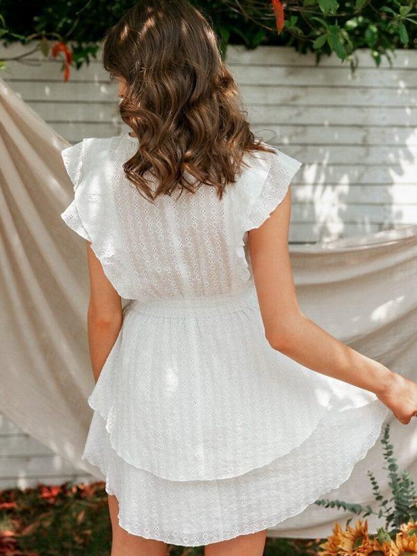 Elegant White Crew Neck Ruffle High Waist Sleeveless Lace Boho Dress