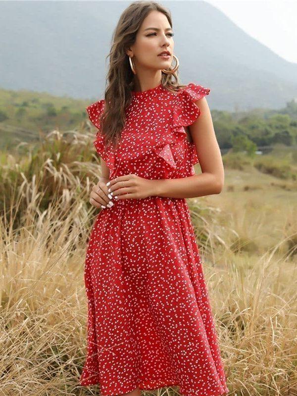 Dot Print Butterfly Sleeve Ruffles Long Chiffon Dress