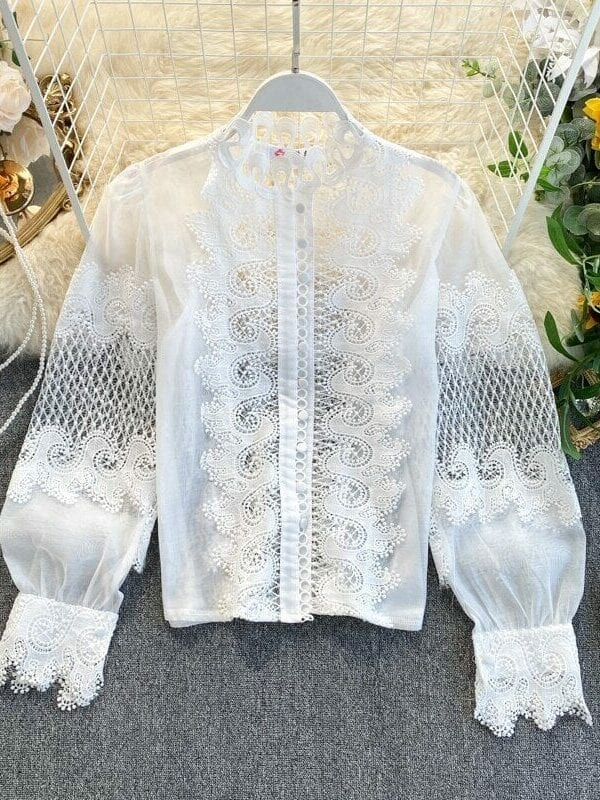 White Black Long Lantern Sleeve Lace Hollow Out Stand Collar Blouse Shirt