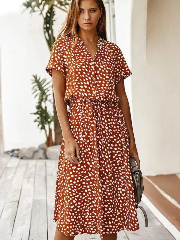 Dots Print White Short Sleeve Midi Boho Beach Dress