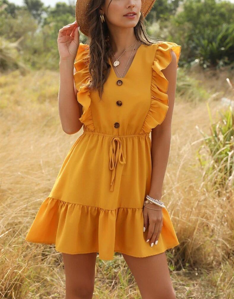 Ruffle Off Shoulder High Waist V Neck Casual Boho Beach Yellow Dress