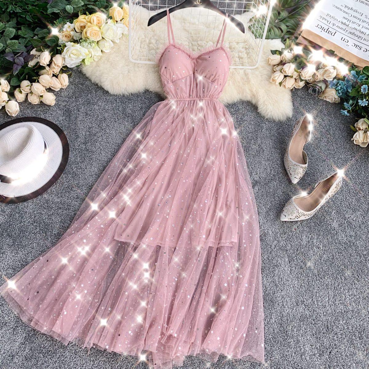 Sequins V-neck Gauze Ruffles Mesh A-line Dress