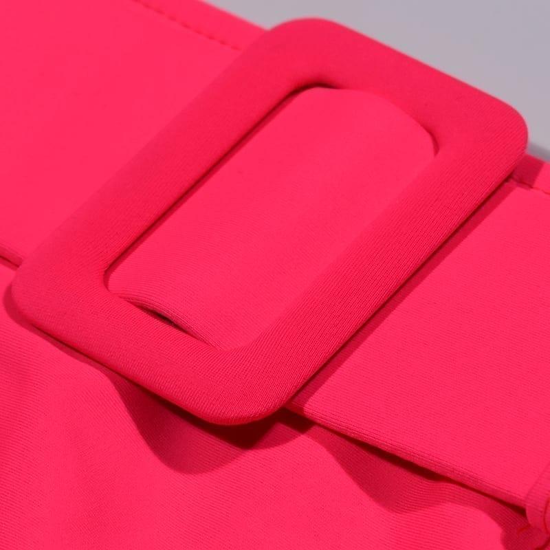 Pink High Waist Bandeau Bikini Set