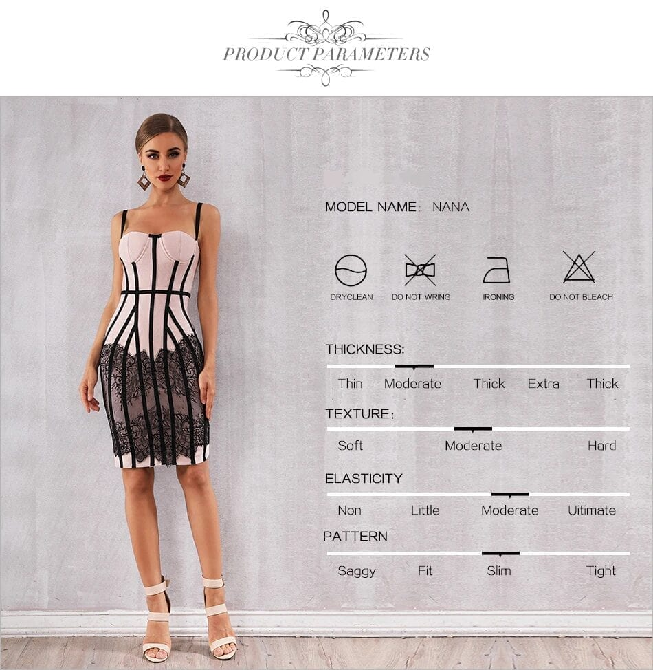 Lace Spaghetti Strap Midi Bandage Dress