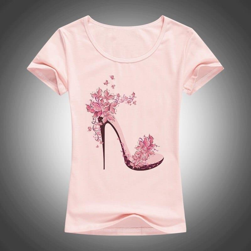 High heels printed short sleeve t-shirt