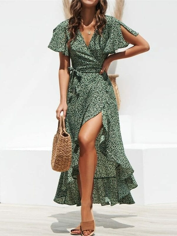 Floral print boho long dress – green, xxl