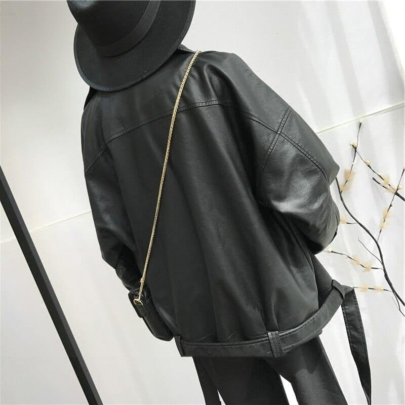 Black pu leather loose turn-down collar zipper wild jacket