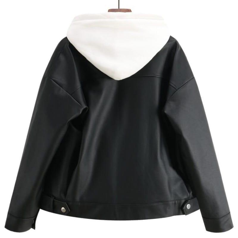 Leather oversized korean style female jacket