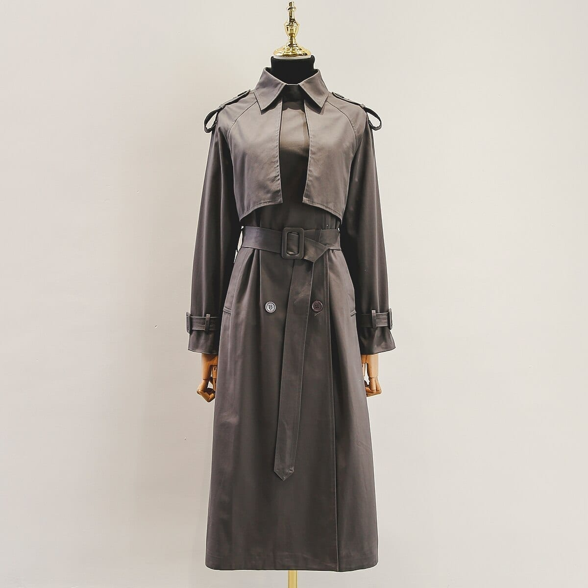 Fall /autumn casual double breasted simple classic long trench coat