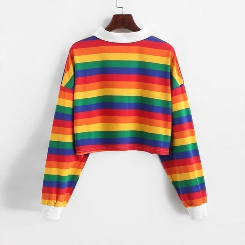 Long sleeve rainbow color ladies hoodies with button striped korean style sweatshirt