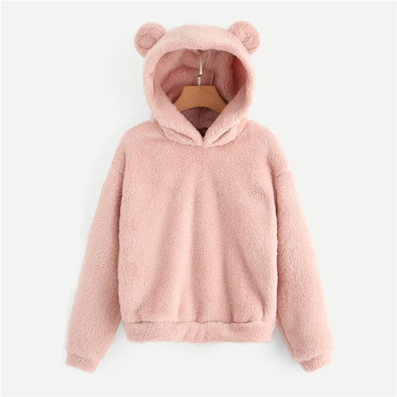 Lovely with bears ears solid teddy hoodie pullover