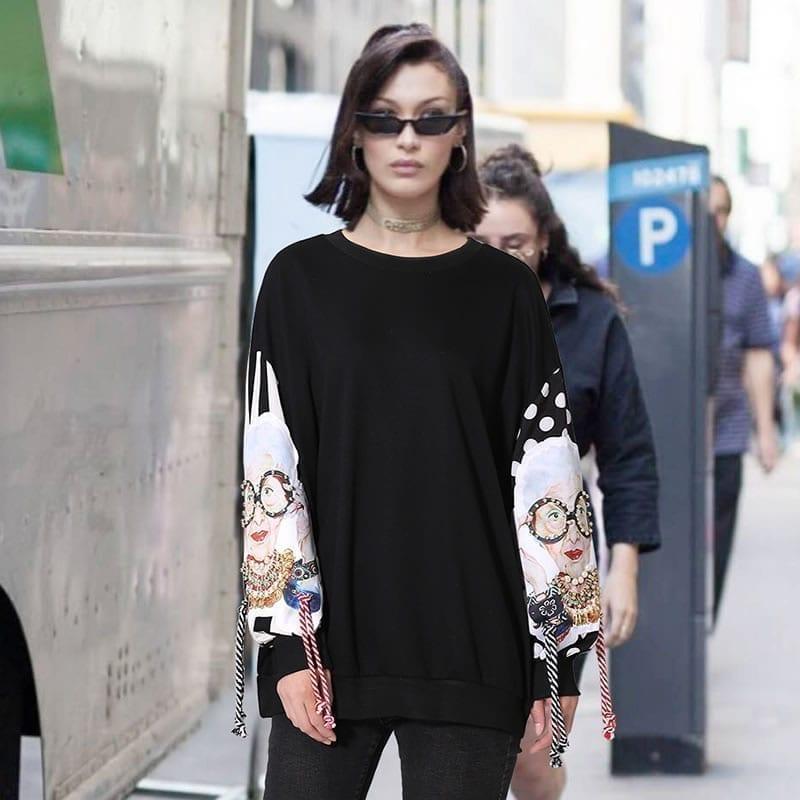 Black long sleeve patchwork print tassel pullover