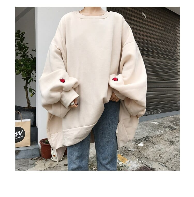 Large size trendy solid o-neck womens pullover