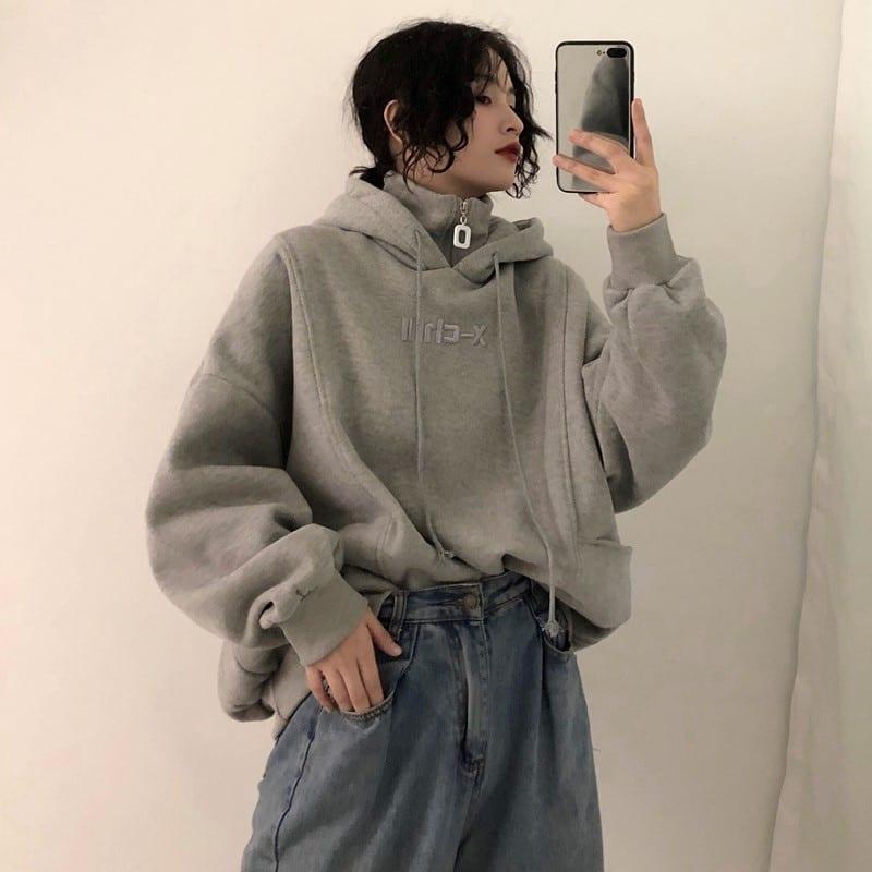 Velvet thicker long sleeve oversize letter embroidered hoodie