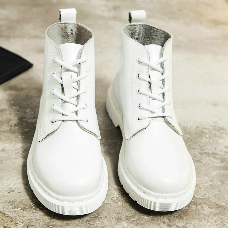 White ankle motorcycle boots boots