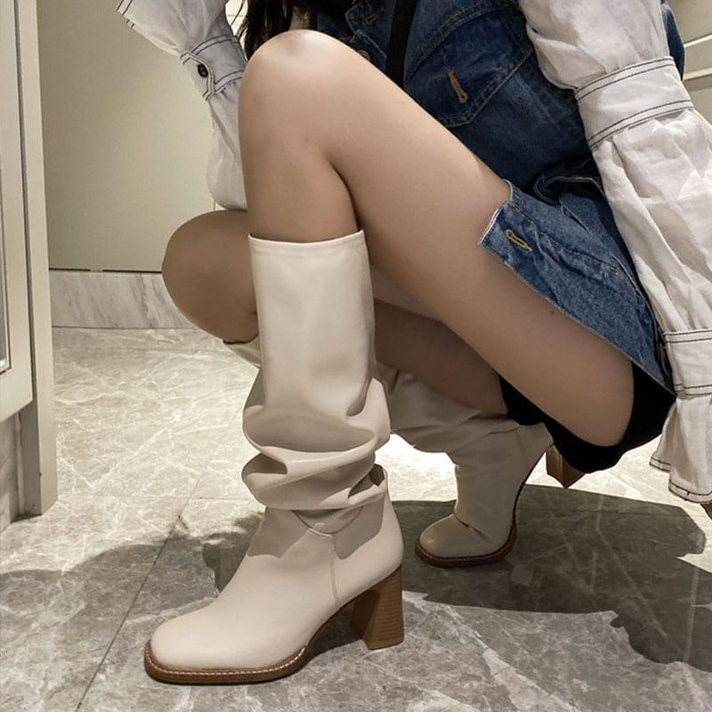 Knee high heel square toe warm boots