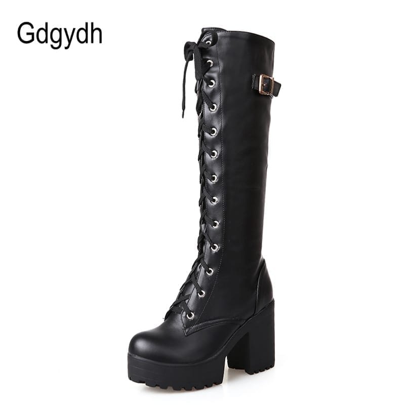 Leather lacing knee high square heel boots