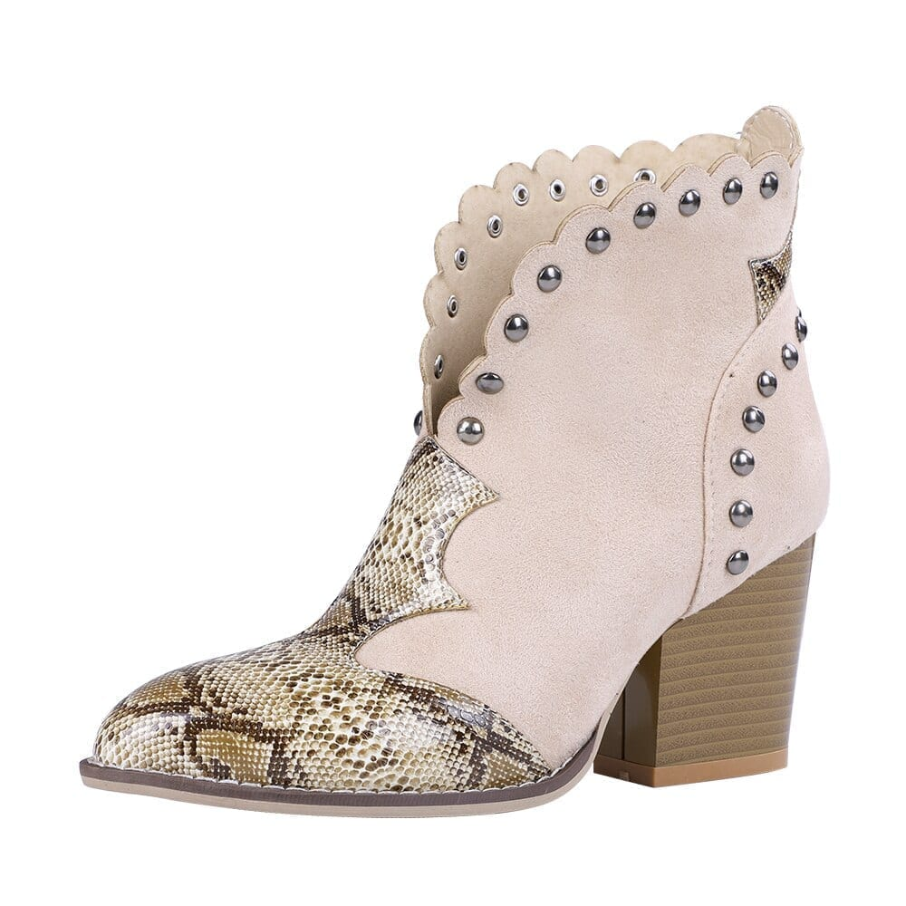 Pu leather cowboy ankle boots
