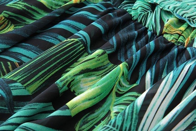 Floral print boho maxi long dress