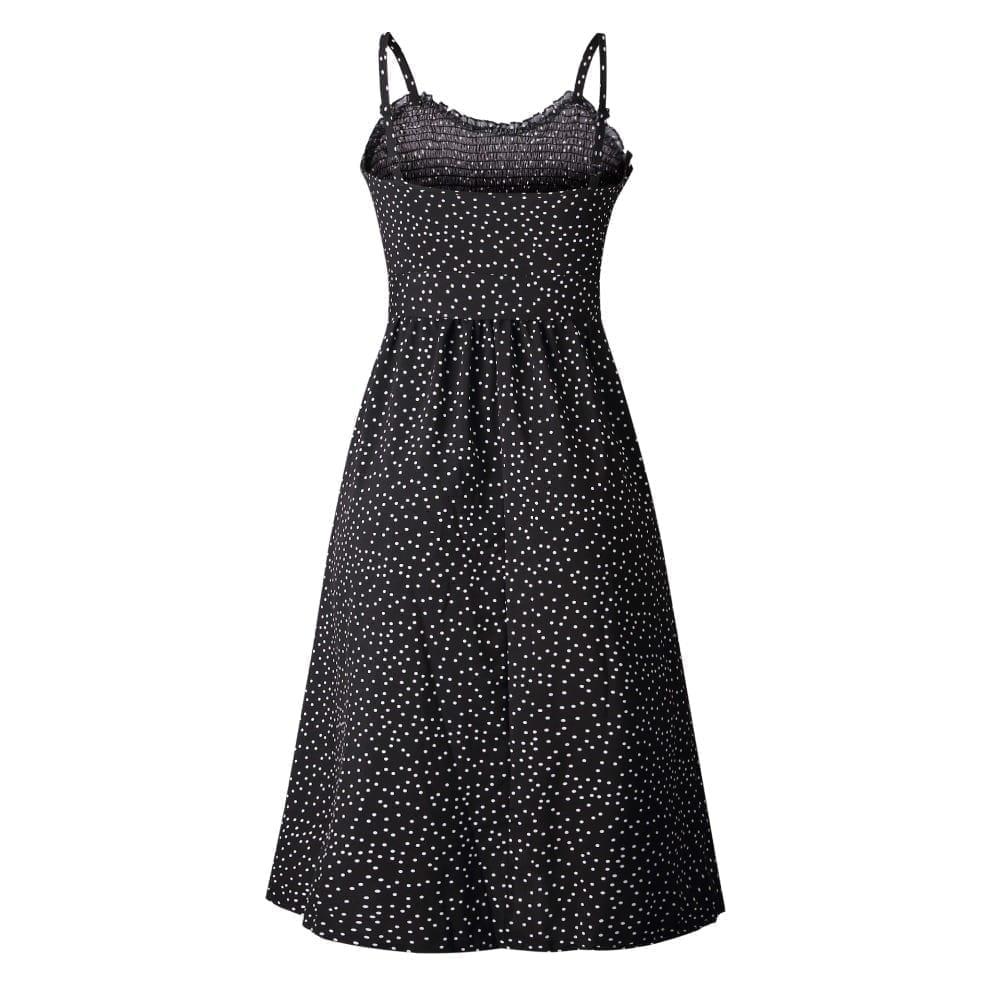 Sexy summer sleeveless button polka dot dress