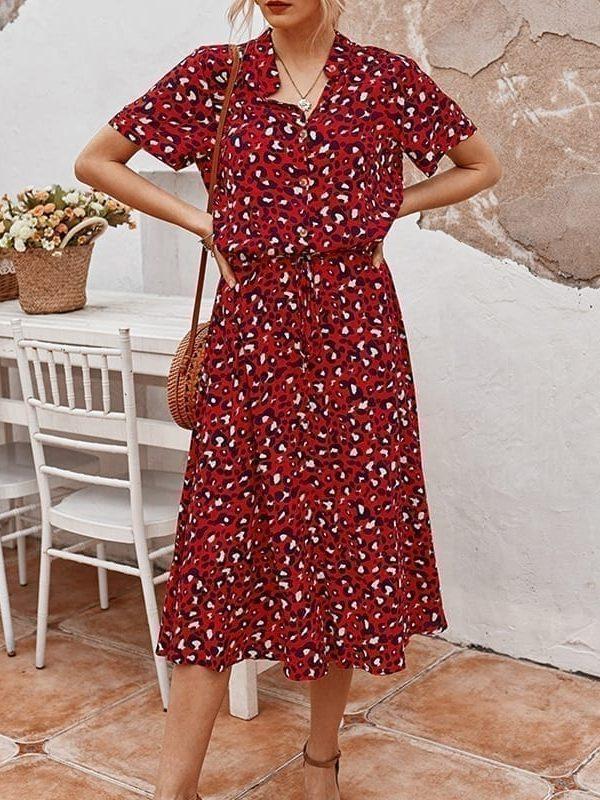Bohemian leopard print shirt dress