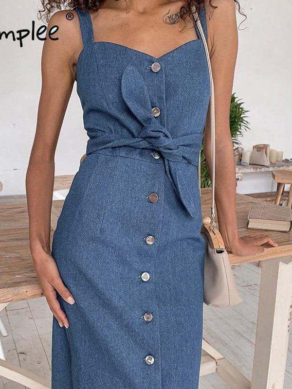 Sexy long denim buttons dress with belt