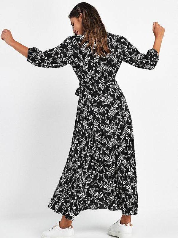 Vintage floral print maxi boho three quarter sleeve dress