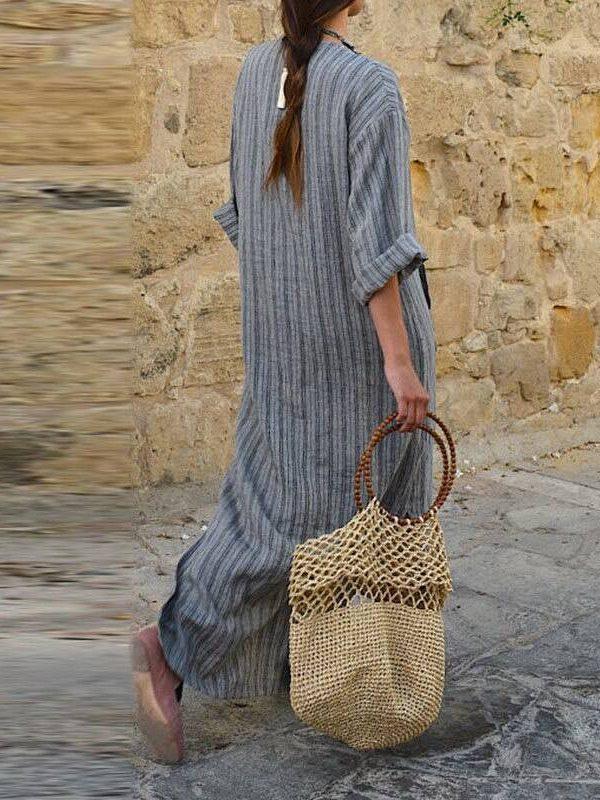 Cotton linen plus size long maxi boho dress