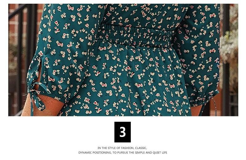 Floral printed longelegant 3/4 sleeve boho maxi dress