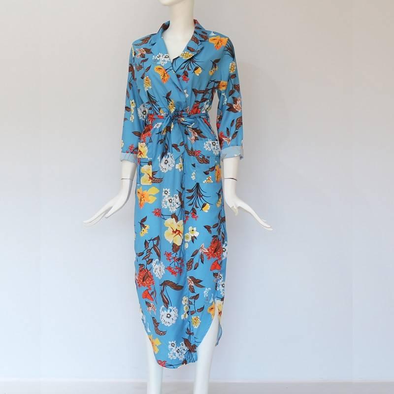 Boho print maxi long casual v-neck long sleeve sashes dress with pocket