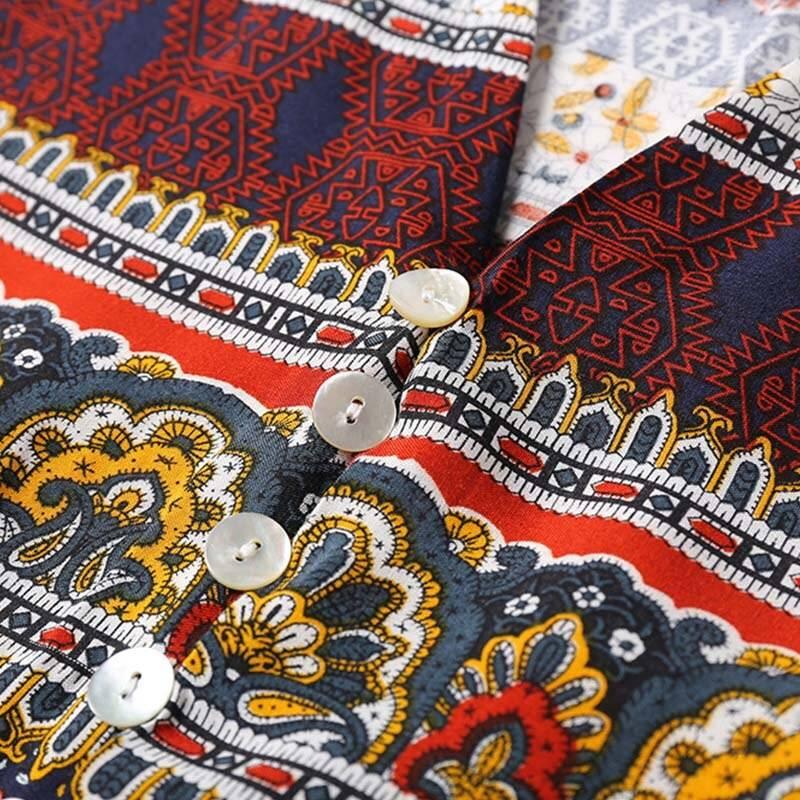 3xl boho ethnic long v-neck half maxi dress