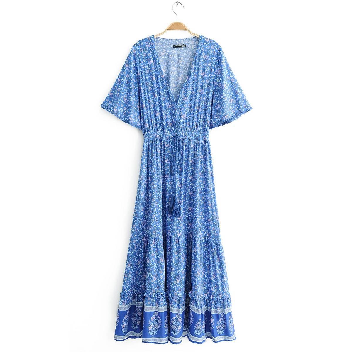 Vintage print waist boho v-neck short sleeve maxi dress