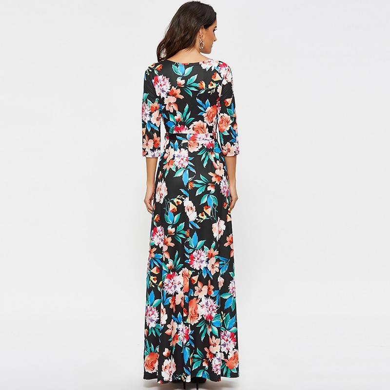 Vintage floral print casual sashes half sleeve v neck boho dress