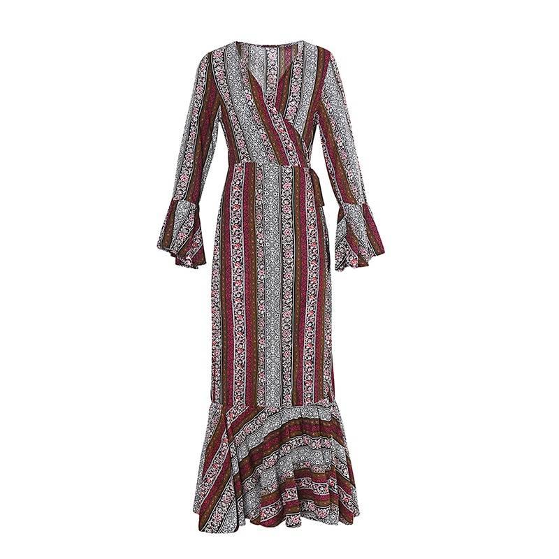 Floral print v-neck long sleeve hippie floor-length dress