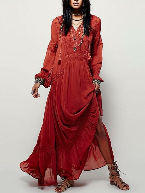 Long sleeve red floral embroidery v neck tassel maxi dress