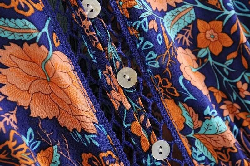 Floral print sexy v-neck long sleeve boho maxi dress