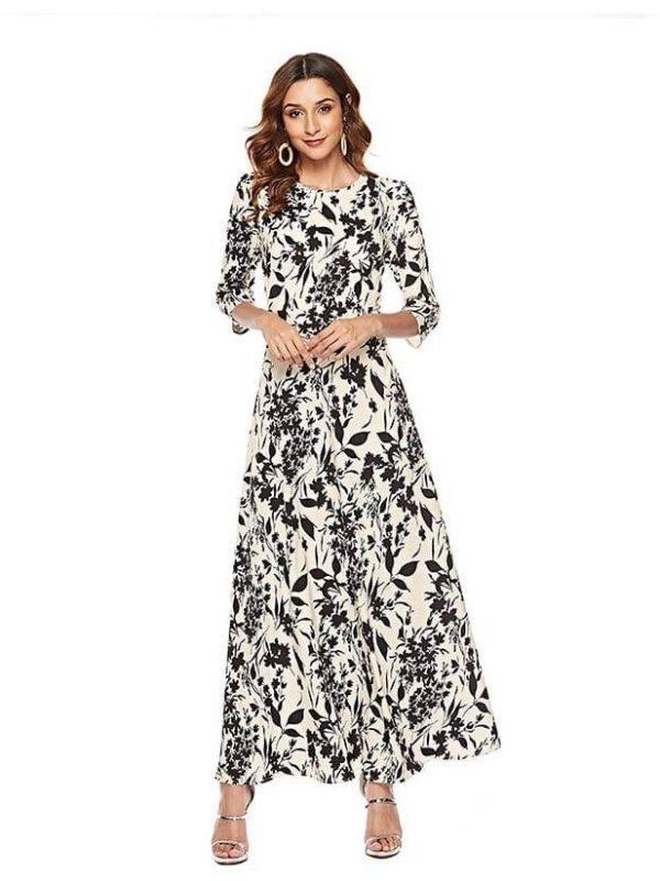 Slim long 3/4 sleeve o neck floral print boho maxi dress