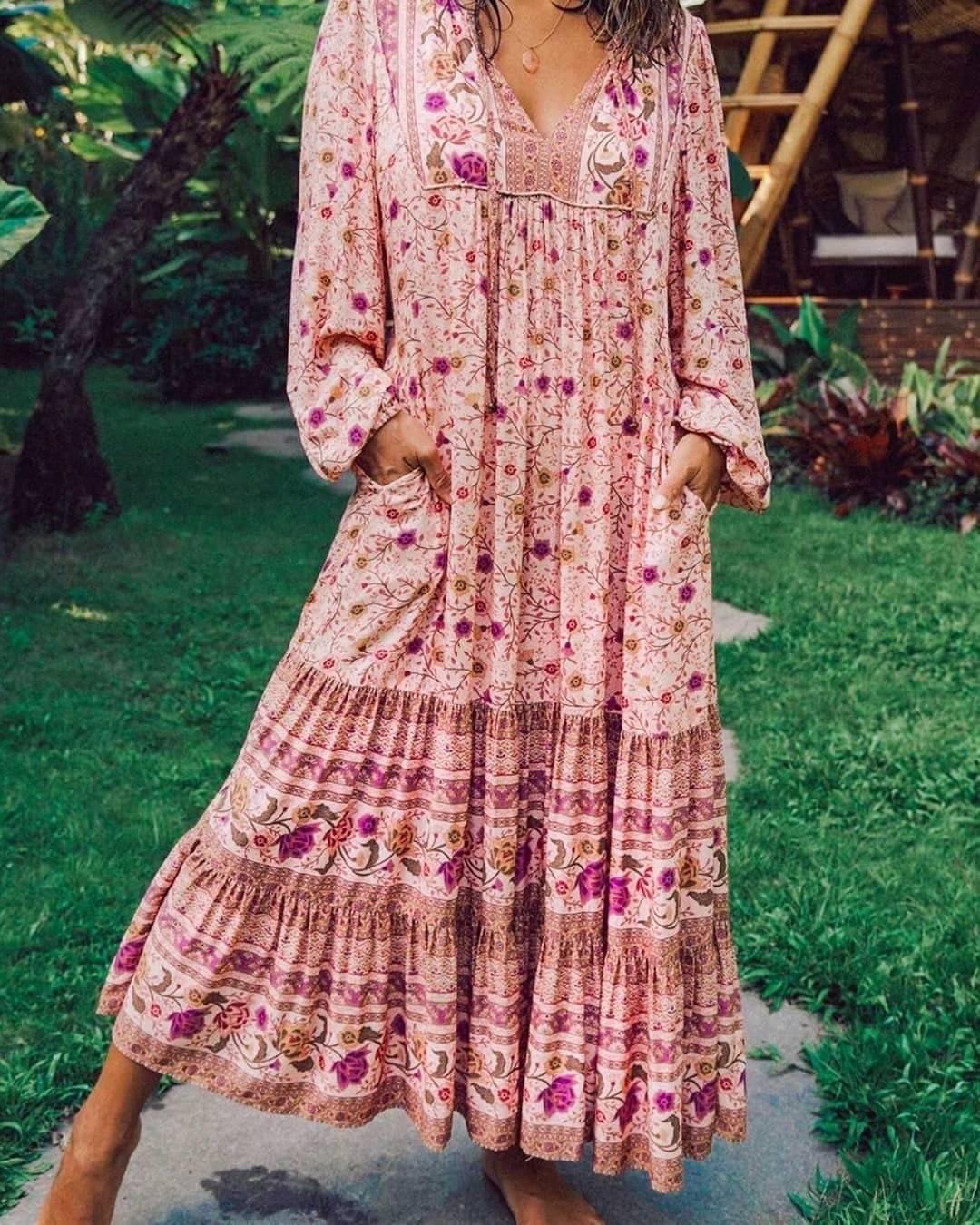Lacing up v neck pink floral print long sleeve dress