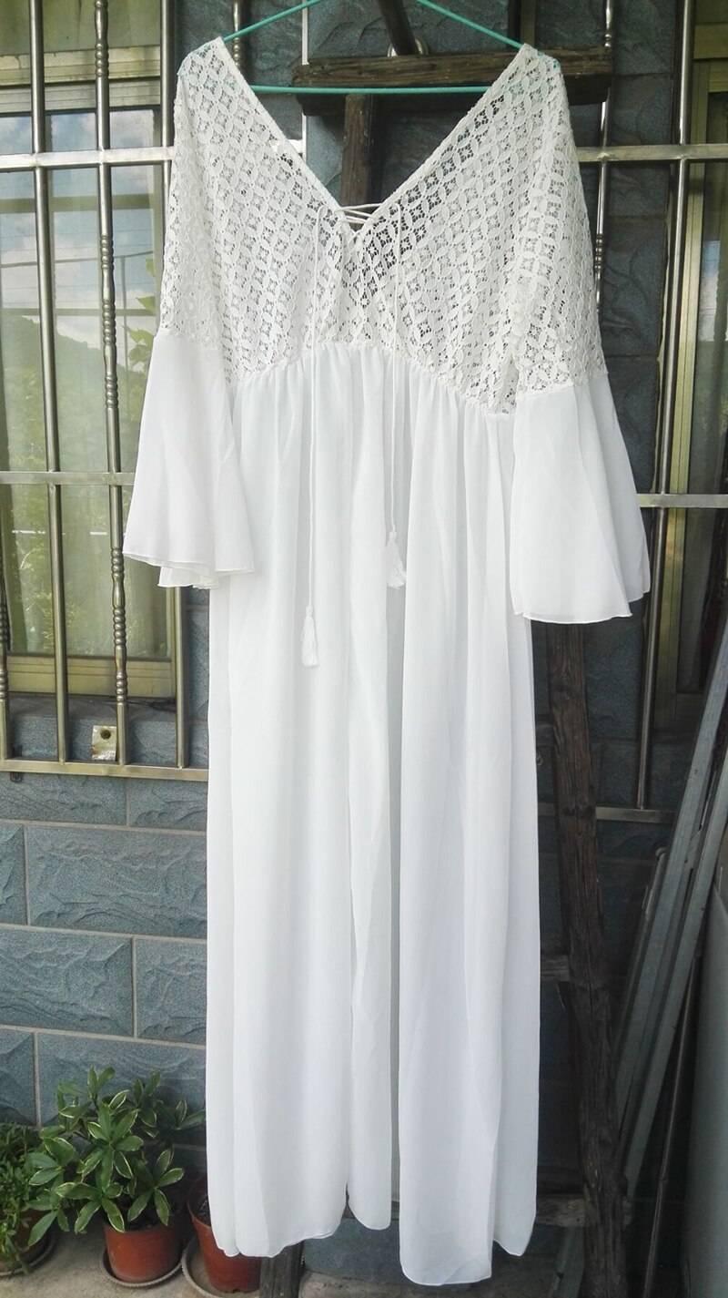 Long flare sleeve v neck white tassel hollow boho lace maxi dress