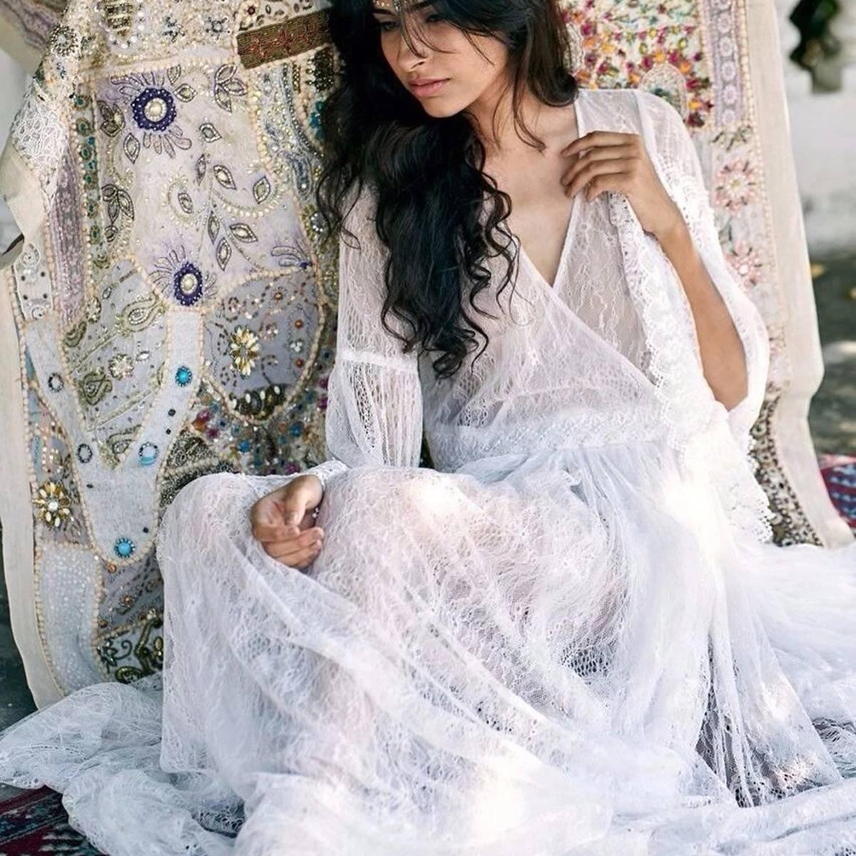 Boho long sleeve v neck vintage backless sexy solid maxi dress