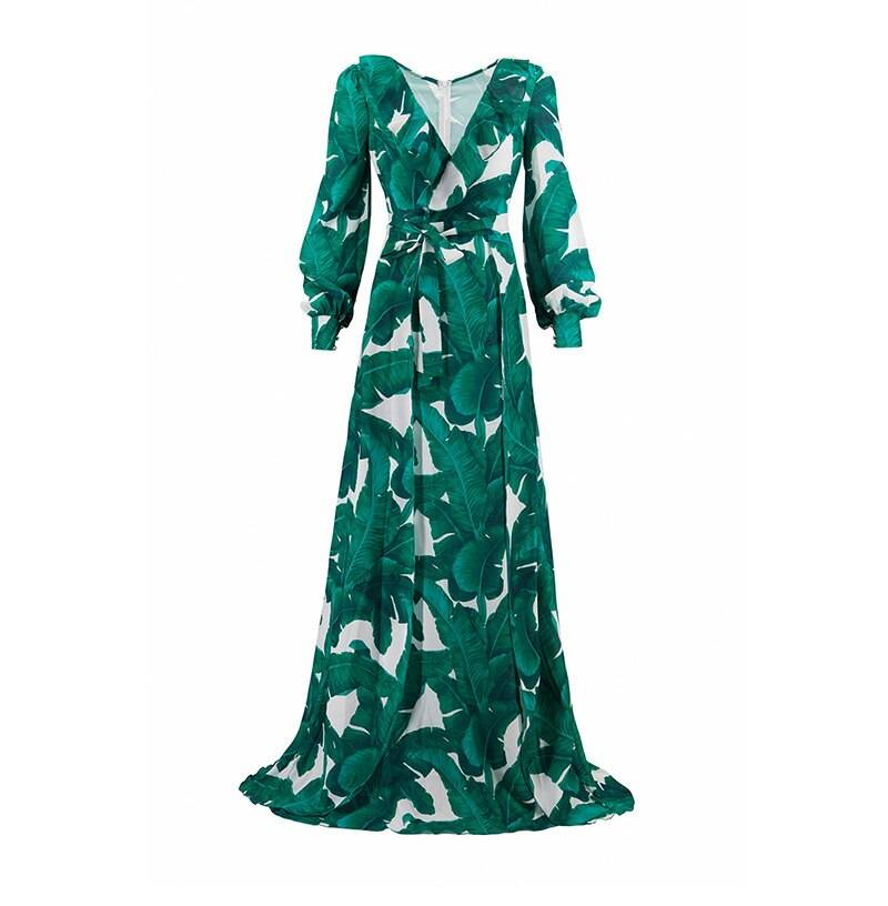 Long sleeve tropical beach vintage maxi dress