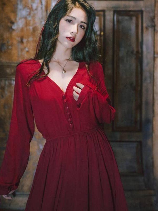 Vintage chiffon solid v-neck long lantern sleeve high waist boho maxi dress