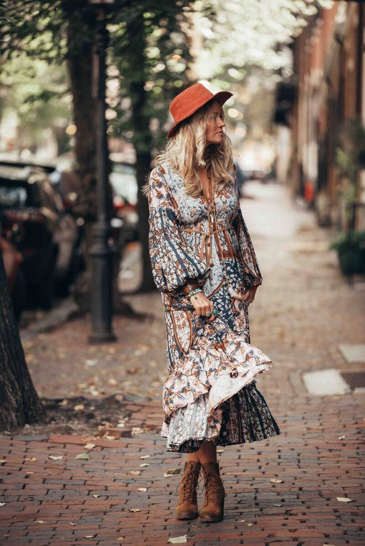 Bohemian long sleeve vintage ethnic maxi long dress
